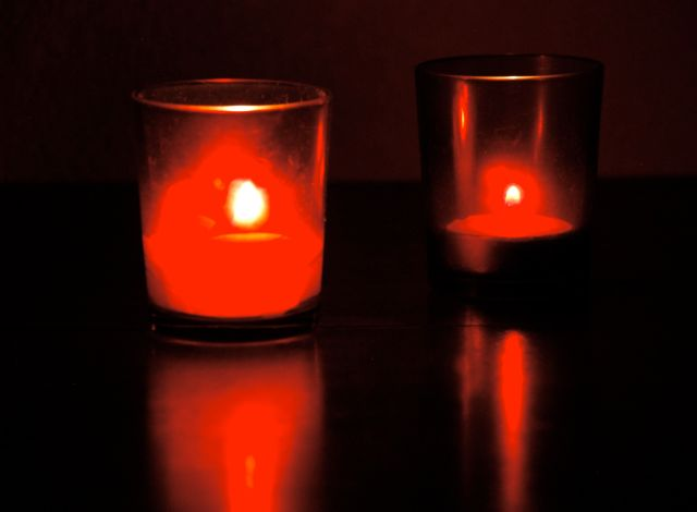Two votive candles