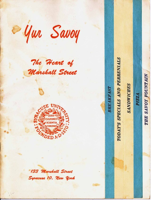 Yur Savoy Menu Front Page