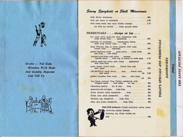 Savoy Specials Menu