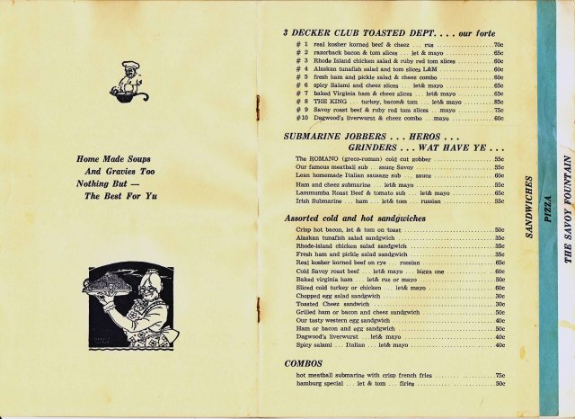 Savoy Sandwich Menu