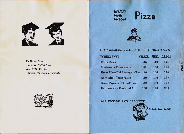Savoy Pizza Menu