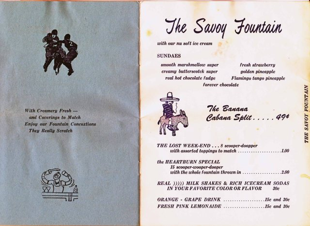 Savoy Fountain Menu