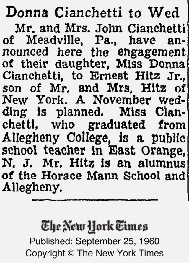 Cianchetti wedding NY times Sept 1960