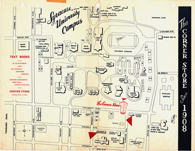 Map of Syracuse University in 1958